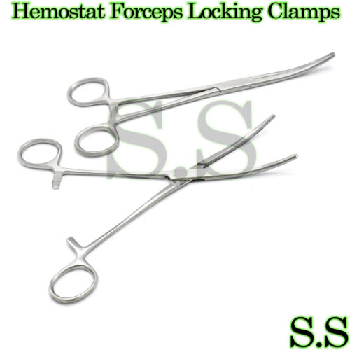 """2pc Set 8"""" + 10"""" Curved Hemostat Forceps Locking Clamps Stainless Steel"""