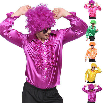Herren 1980 Kostüm (Satin Rüschenhemd Herren Hippiehemd Disco 1980s Kostüm Männer)