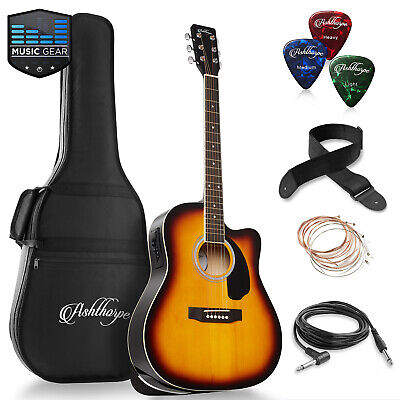 OPEN BOX - Full-Size Dreadnought Cutaway Acoustic-Electric Guitar - Sunburst