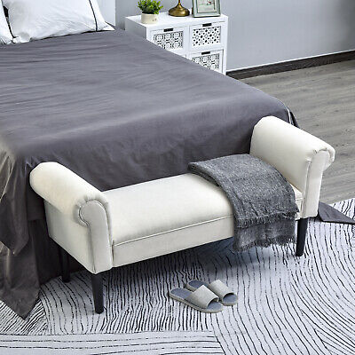 HomCom Deluxe 52?Linen Bed End Arm Bench Bedside Bench Footstool Home Decor