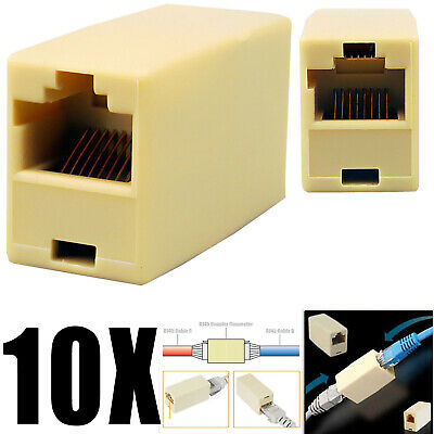 - 10Pack RJ45 Ethernet Network LAN Cat5e Cable Joiner Adapter Coupler Extender Lot