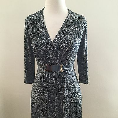 (Purple Rain Paisley Blue Black Print Jersey Dress Size Small Nwt)