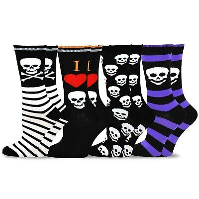 TeeHee Novelty Happy Halloween Fun Crew Socks for Women 4-Pack Skulls Skeleton