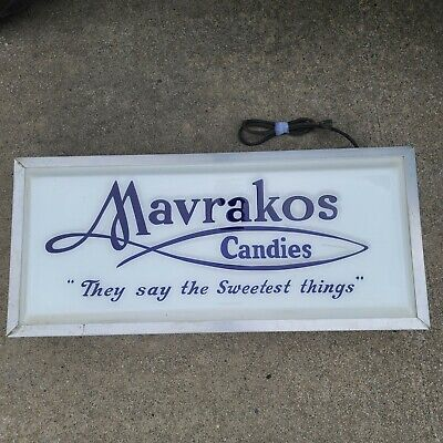 Vintage Rare Mavrakos Candies Original Store Display Light Up Sign. Tested.