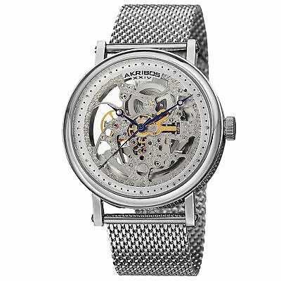 Akribos Xxiv Mens Automatic Watch - Men's Akribos XXIV AK732SS Automatic Skeleton Silver-tone Stainless Steel Watch