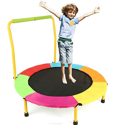 Kids Foldable Round Trampoline Indoor Outdoor Safe Jumping E