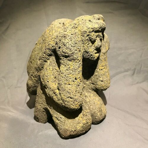 ANCIENT Large Pre-Columbian Carved Stone Statue - Kneeling Person With Backpack