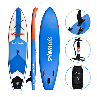 10 Inflatable Stand Up Paddle Board Surfboard Sup Adjustable Fin Paddle Blue