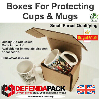 10 Small Parcel Size Die Cut Cardboard Postal Boxes for Mailing Mugs Cups DC433