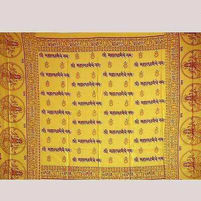Scarf Cloth Lunghi Sarong Mantra Benares Deco Cloth Lakshmi Om Yellow India 47