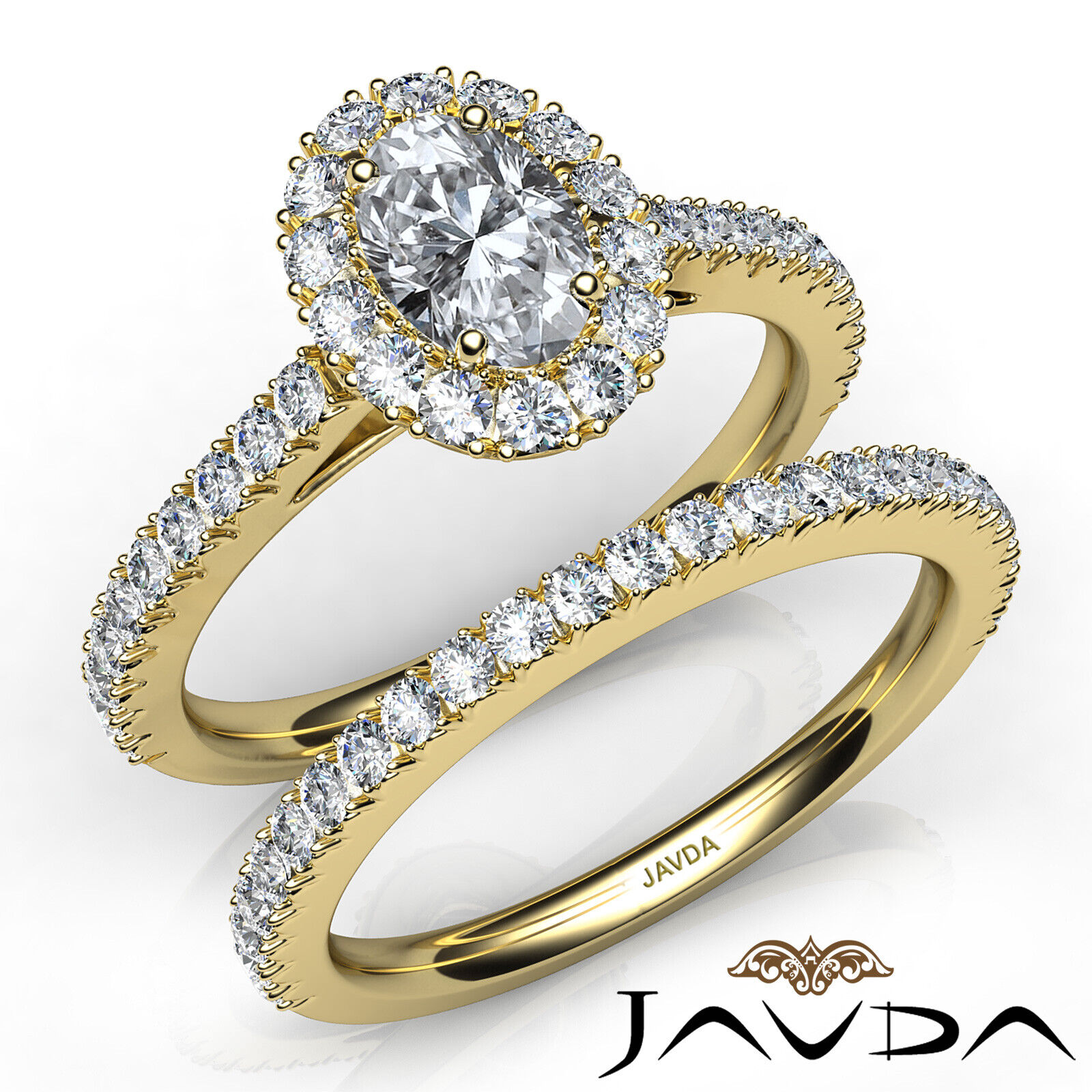 2.21ctw Halo Bridal French Pave Oval Diamond Engagement Ring GIA F-VVS2 W Gold 8