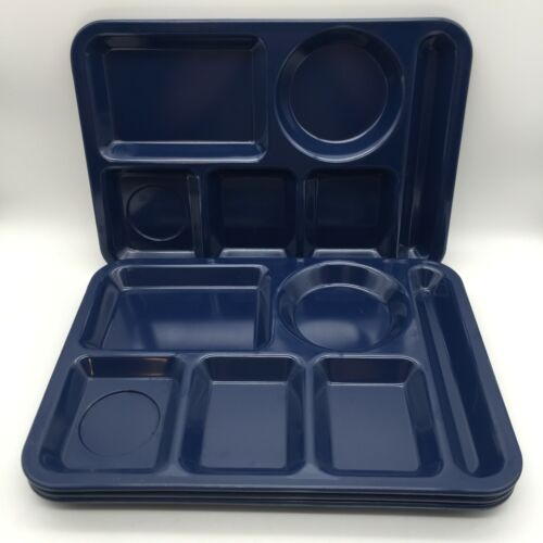 4 VTG TEXAS WARE BLUE MELAMINE CAFETERIA/LUNCH/TV DIVIDED FOOD TRAYS CAMPING RV