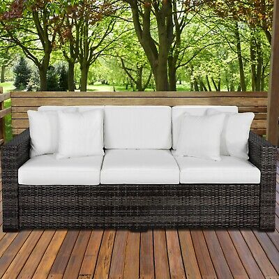 Best Choice Products 3-Seat Outdoor Wicker Sofa with Cushions,