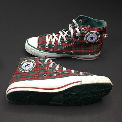 80S Converse ALL STAR Chuck Taylor HI TOP Plaid Christmas Xmas USA Made Size 6