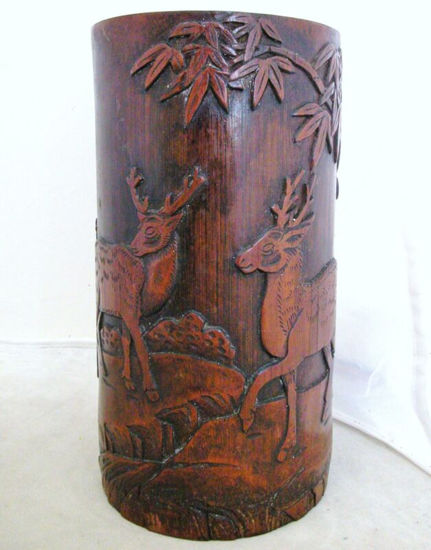 """Old Carved Chinese Giant Bamboo Brush Pot with Spotted Deer & Trees  (7.1"""" tall)"""