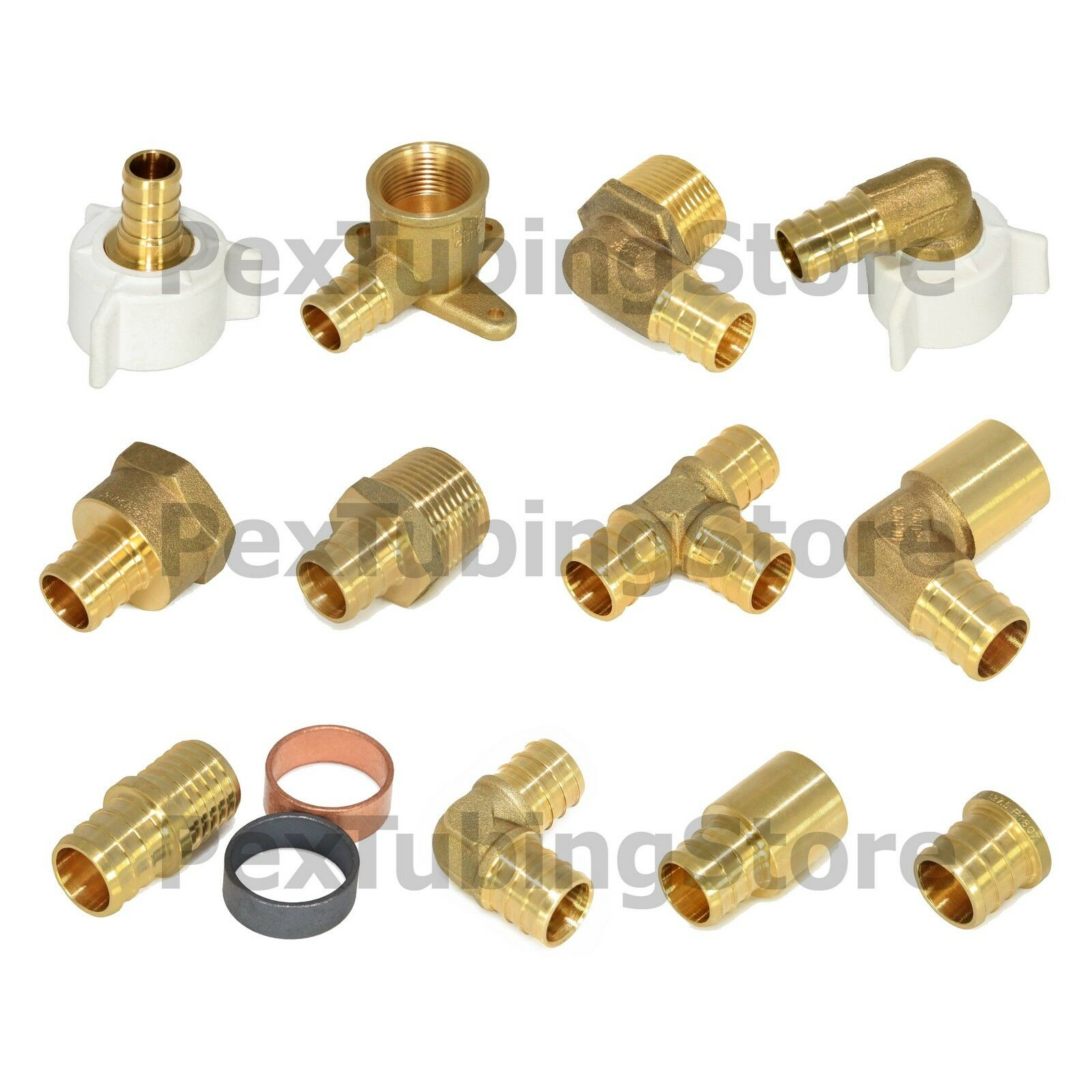 Купить Does Not Apply - PEX Fittings All Sizes - Brass Crimp Elbows Tees Couplings Adapters, ASTM, NSF