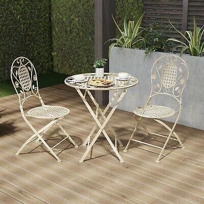Metal Folding Bistro Table Chair Set 3 Pc Seating Patio Garden Antiqued Metal Bistro Set