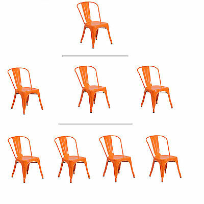 Tolix Orange Metal Stacking Dining Chair Commercial Quality 1-4 Unit Discounts! ()