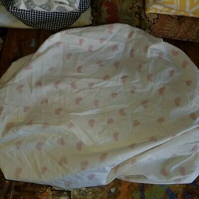 "Land of Nod ""Pink Hearts"" Crib Fitted Sheet"