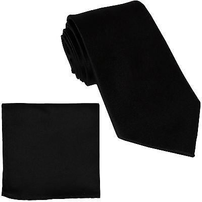 New Polyester Men's extra long Neck Tie & hankie solid formal big & tall black