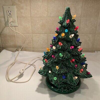 """VTG Ceramic Christmas Tree Large 13 1/2"""" Green Light Up"""