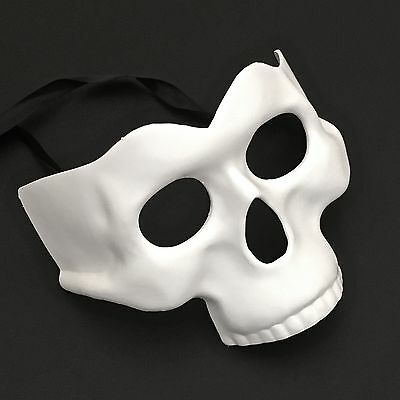Halloween White Half Face Skull Costume Masquerade Party Mask