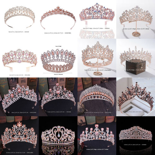 38 Styles Rose Gold Crystal Queen Princess Tiara Crown Wedding Party Pageant