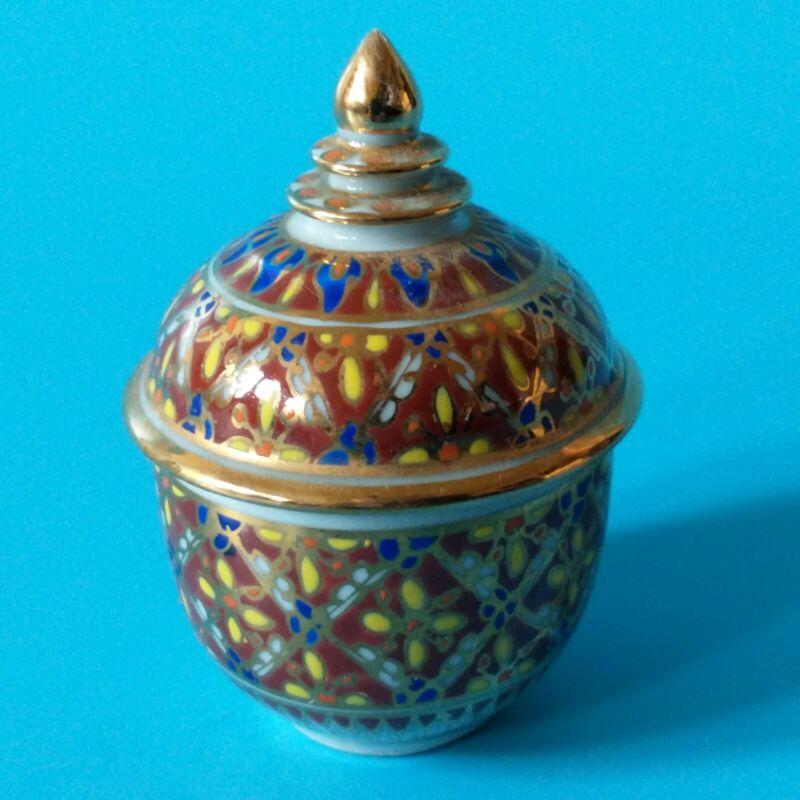 Vtg Ceramic Khelang Benjarong Porcelain Thailand Trinket Box & Lid Hand Painted