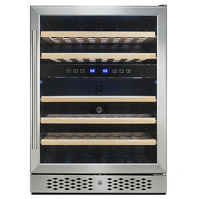 46 Bottles Dual Zone Adjustable Temperature Compressor Freestanding Wine Cooler