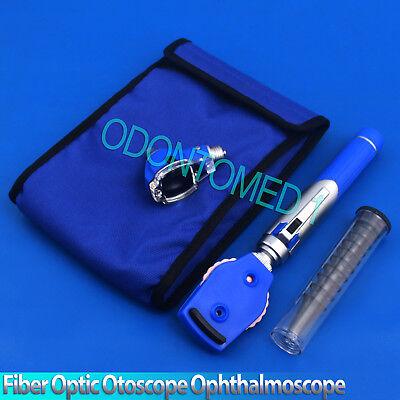 New Fiber Otoscope Ophthalmoscope Examination Led Diagnostic Ent Set Kit-blue