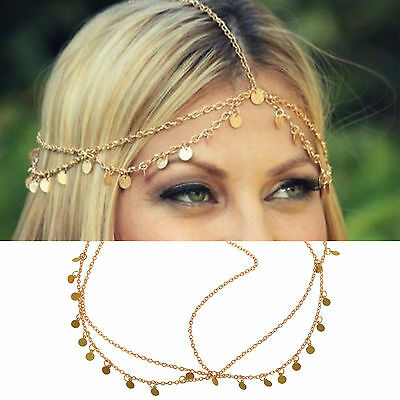 Bohemian Womens Drop Head Chain Jewelry Forehead Dance Headpiece Hair Band AE