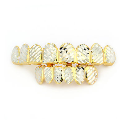 Diamond Gold Tone Grillz - Two Tone Gold Plated HipHop Diamond Cut Side Cap 8 Teeth Top Bottom Bling Grillz