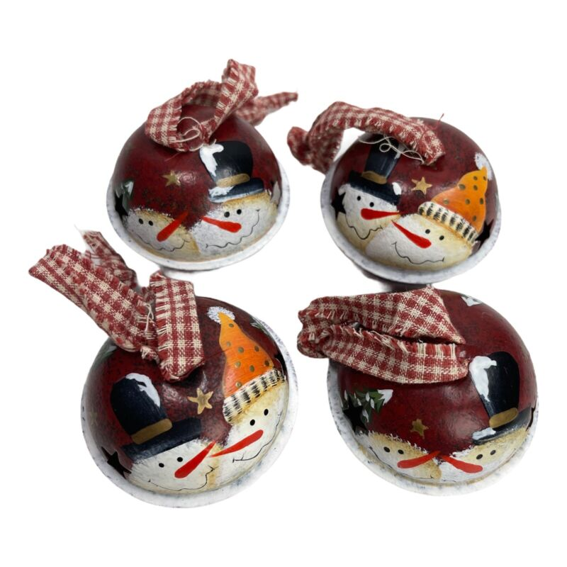 """Set Of 4 Painted Snowman Bell Ornaments 2.5"""" Country"""