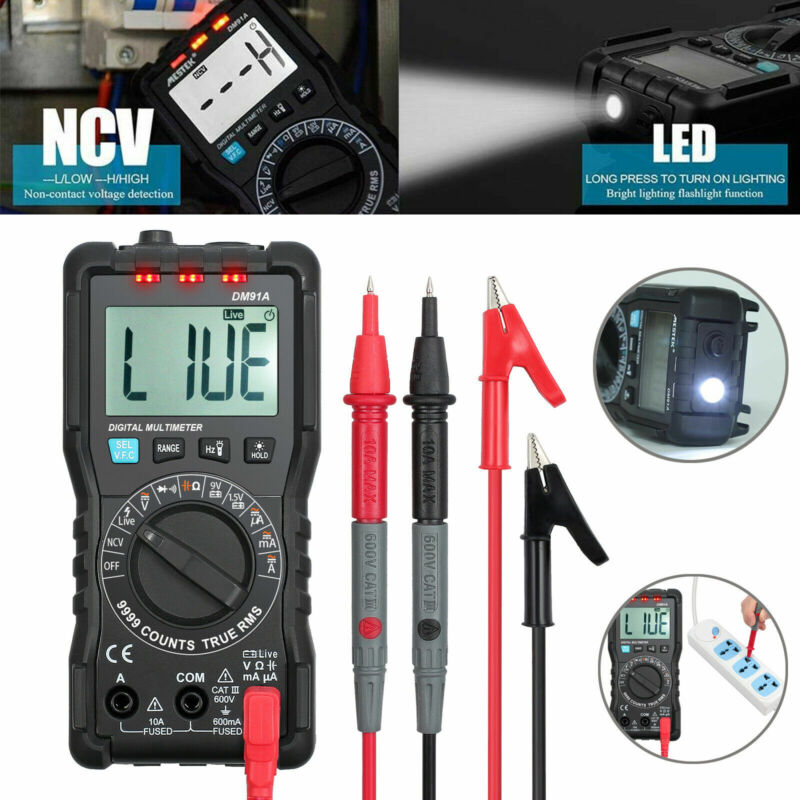 9999 Counts Digital Multimeter TRMS DC AC Test Meter Auto Range NCV VFC Detector