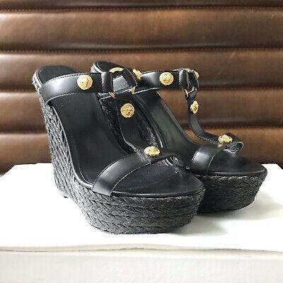 VERSACE Medusa Platform Wedge Sandals EU 38 US 8 Black w/ Gold Medusa EUC