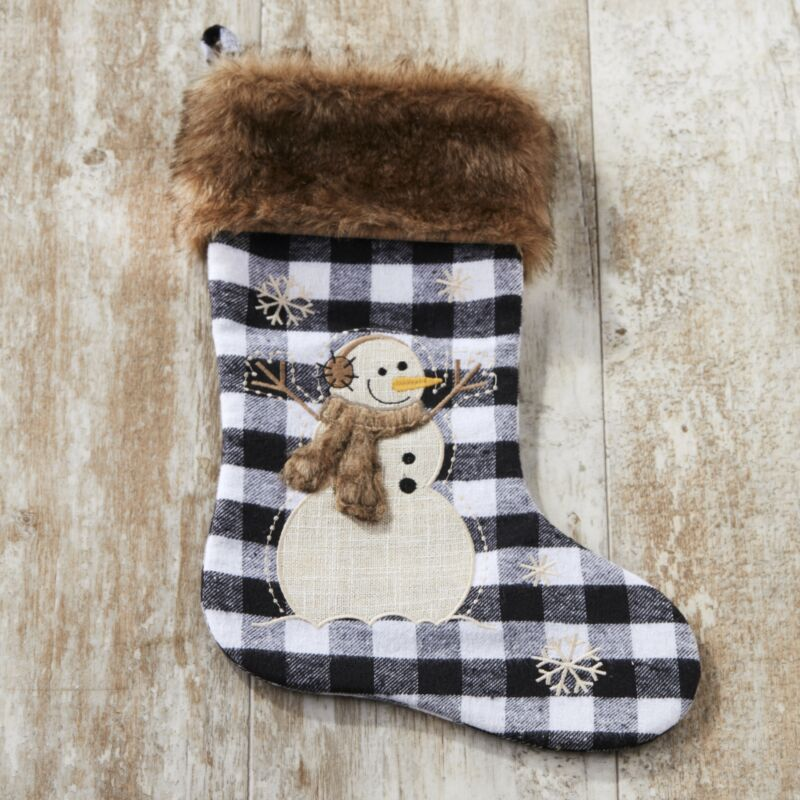 Snowman Christmas Stocking with Faux Fur