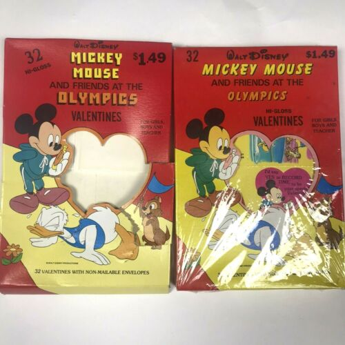 Vintage Disney Mickey Mouse & Friends At The Olympics Valentines Cards 50+