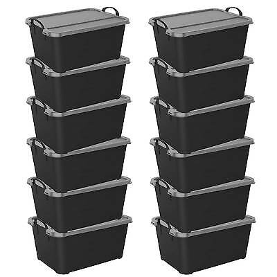 Life Story Locking Stackable Closet & Storage Box 55 Quart Containers, (12 Pack) (Stackable Containers)