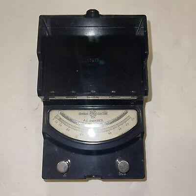 Vintage Ge General Electric Dc Amperes Meter 30a Type Dp9 Leather Strap