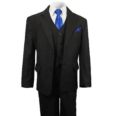 17c8e7a0a8657c Paul Malone Jungen Anzug Kinderanzug schwarz Set 6tlg Slim KA25 blaue  Krawatte