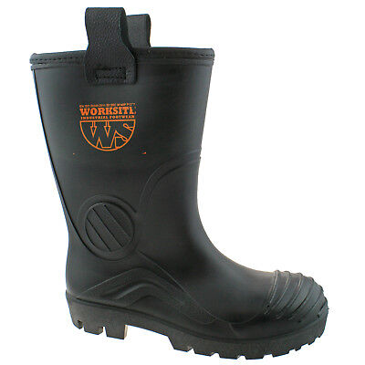 MENS WORKSITE BLACK INDUSTRIAL SAFETY STEEL TOE CAP RIGGER WELLINGTON BOOTS SS63 Industrial Rigger Boot