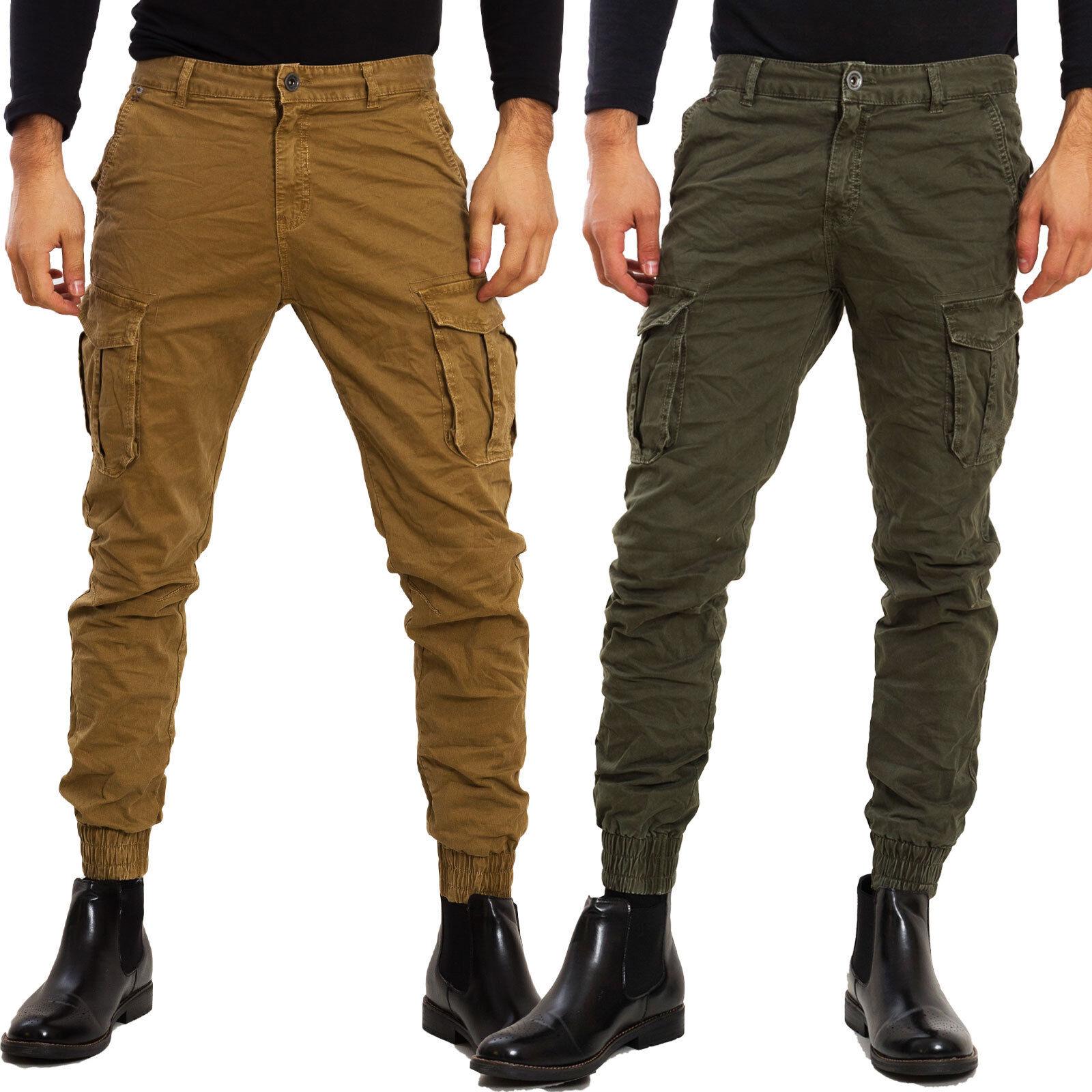 Pantalones Hombre Cargo Casual Slim Fit Militares Bolsillos Laterales Toocool Ebay