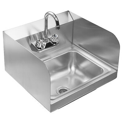 Wall Mount Commercial Kitchen Stainless Steel Hand Sink with Side Splashes