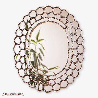 "Decorative Gold Oval Wall Mirror 23.6""- Peruvian Accent Mirr"