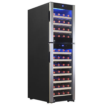 Dual Zone 53 Bottle Freestanding Electric Wine Cooler Refrigerator w/ Compressor
