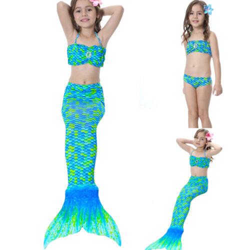 Schwanzflosse Meerjungfrau Kostüm Kinder Mädchen Bademode Badeanzug Bikini NEU
