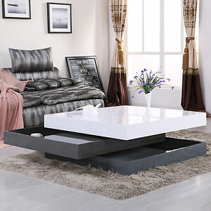 High Gloss Square Storage Rotating Coffee Table W 3 Layers Living Room Furniture