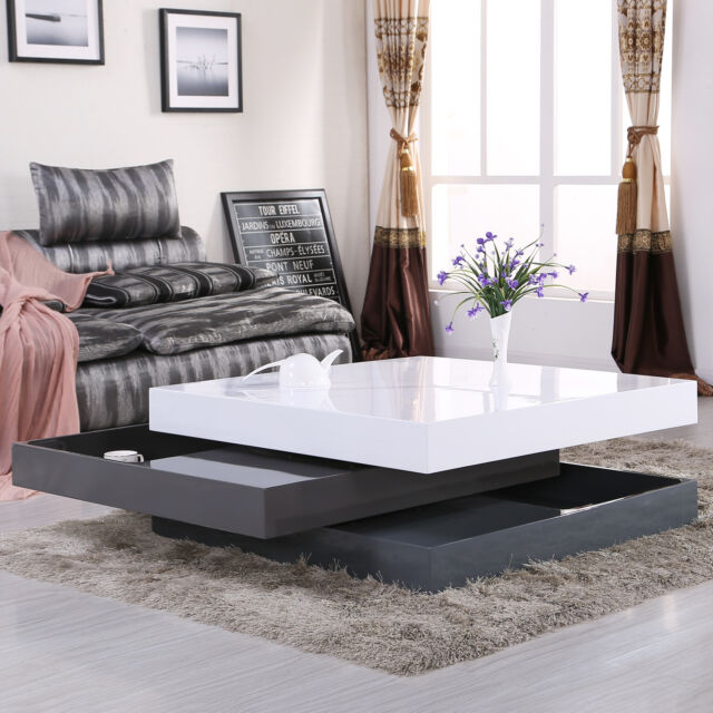 High Gloss Square Storage Rotating Coffee Table W 3 Layers Living