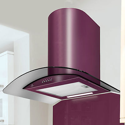 60cm Premier Range Curved Smoked Glass Cooker Hood in Deep Purple - PRX60DP