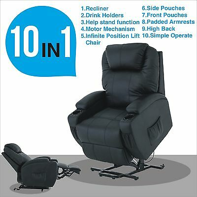 Electric Real Leather Recliner Armchair Lift Chair Wall Hugger Lounge Seat Black